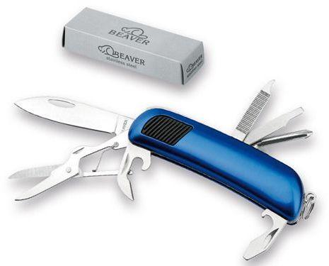 SPENCER nerezový kapesní nůž, 7 funkcí, BEAVER, modrá