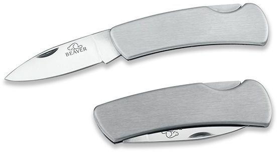 ANDOR nerezový kapesní nůž s pojistkou, ostří 6,5 cm, BEAVER, chrom