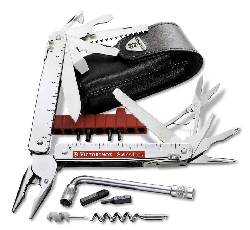 Nůž Victorinox SwissTool Plus, kožené pouzdro