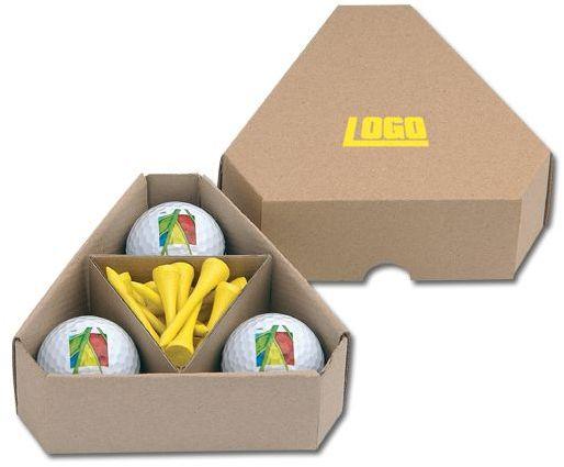 TRIANGLE papírová krabička na golfové míčky a týčka