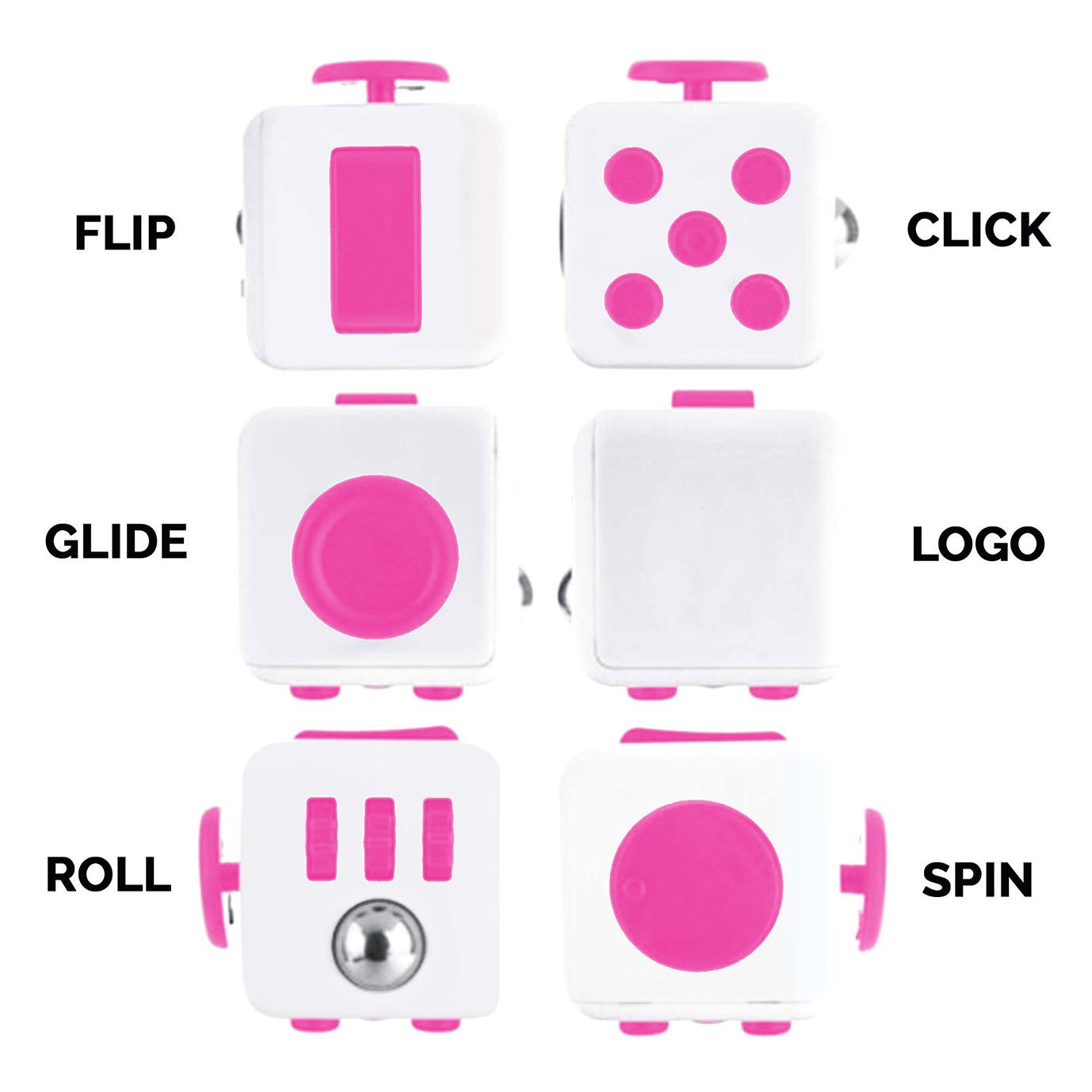 Fidget Cube bílo-růžová