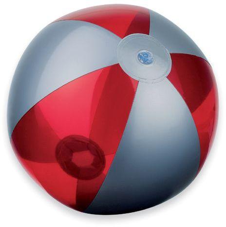 BEACH plastový nafukovací míč, 6 panelů, červená s potiskem