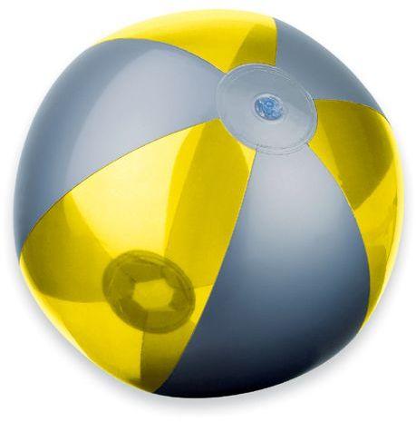 BEACH plastový nafukovací míč, 6 panelů, žlutá