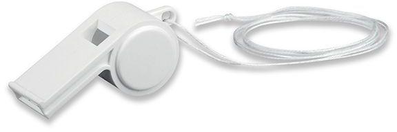ARBITER plastová píšťalka na šňůrce, bílá
