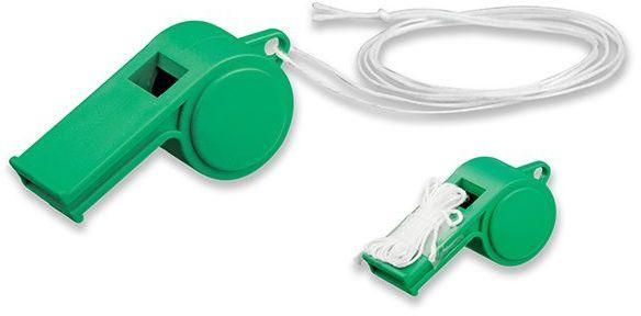 ARBITER plastová píšťalka na šňůrce, zelená s potiskem
