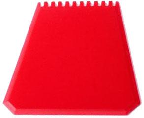Červená autoškrabka s potiskem