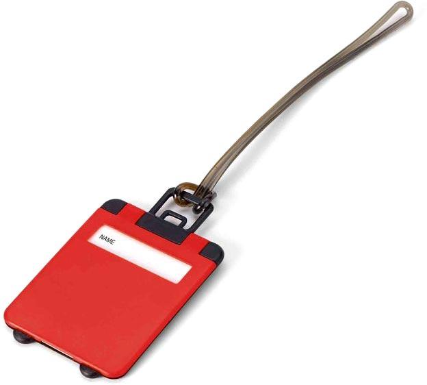 Visačka na kufr červená s potiskem