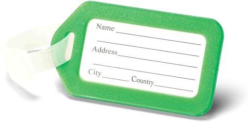 Visačka na kufr světle zelená