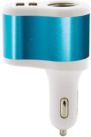 Nabíječka do auta se dvěma USB výstupy a zásuvkou na zapalovač, bílo-modrá