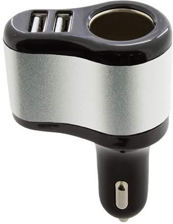 Nabíječka do auta se dvěma USB výstupy, černo-stříbrná