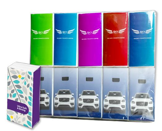 Reklamní papírové kapesníky s celoplošným barevným tiskem obalu