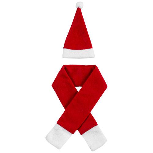 Vánoční čepice a šála Honka jako dekorace láhve