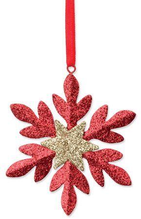 SNOWFLAKE vánoční ozdoba, sněhová vločka, červená