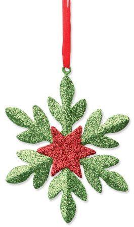 SNOWFLAKE vánoční ozdoba, sněhová vločka, zelená s potiskem