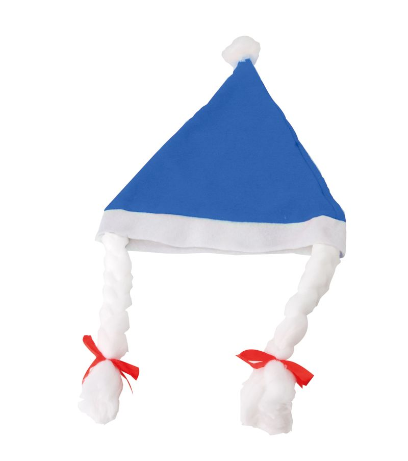 Vánoční čepice s copánky modrá