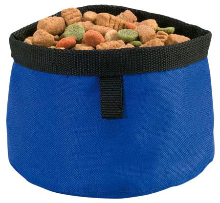 Modrá cestovní miska pro psy