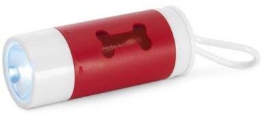 Zásobník na plastové sáčky s LED svítilnou červený