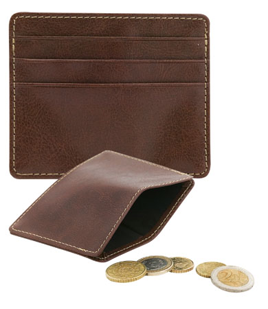 Hnědá peněženka s pouzdrem na 3 kreditní karty