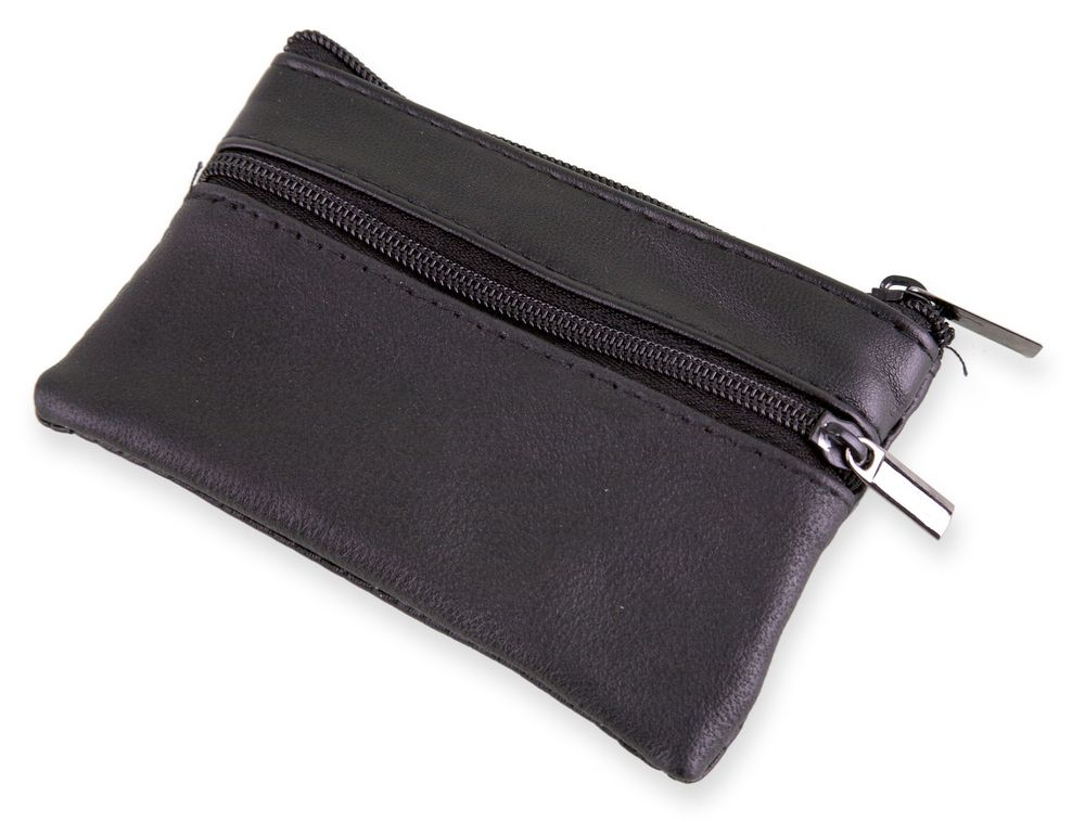 Klíčenka s peněženkou z kůže černá