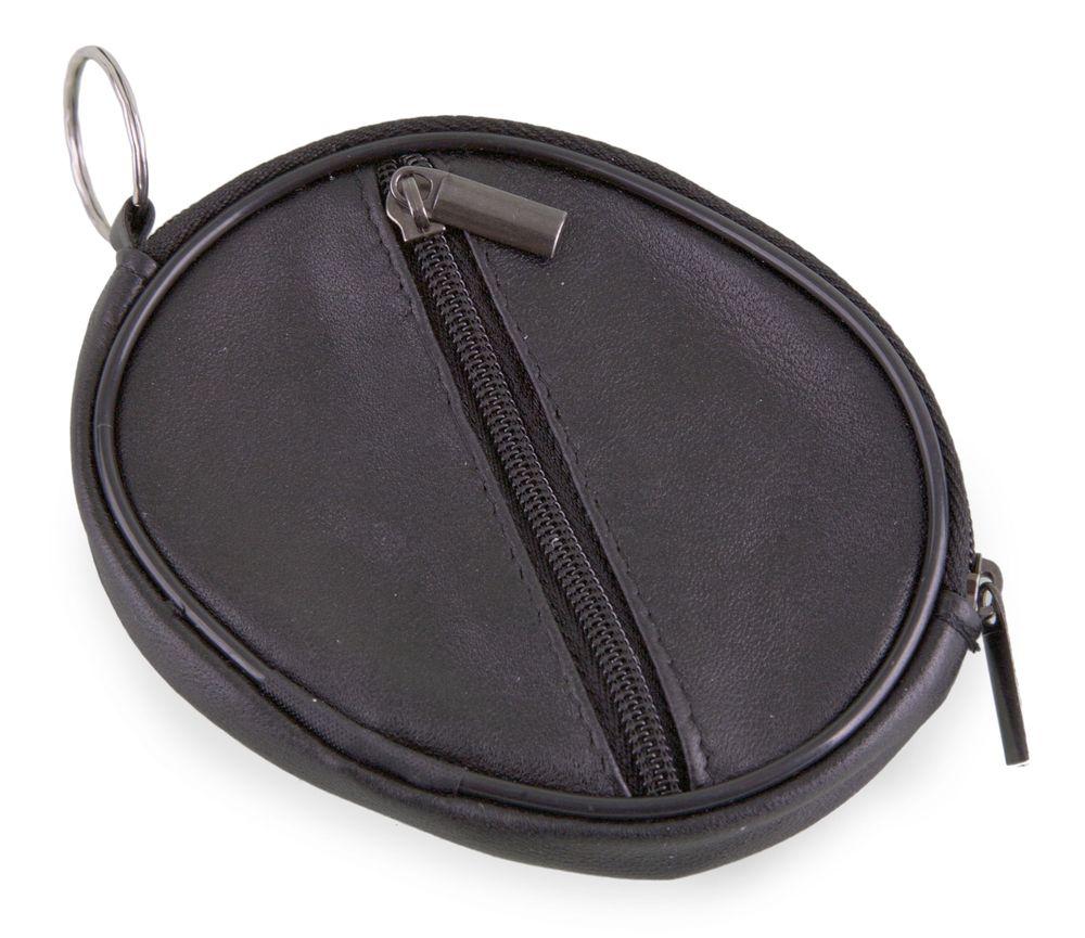 Kulatá klíčenka s peněženkou z kůže černá