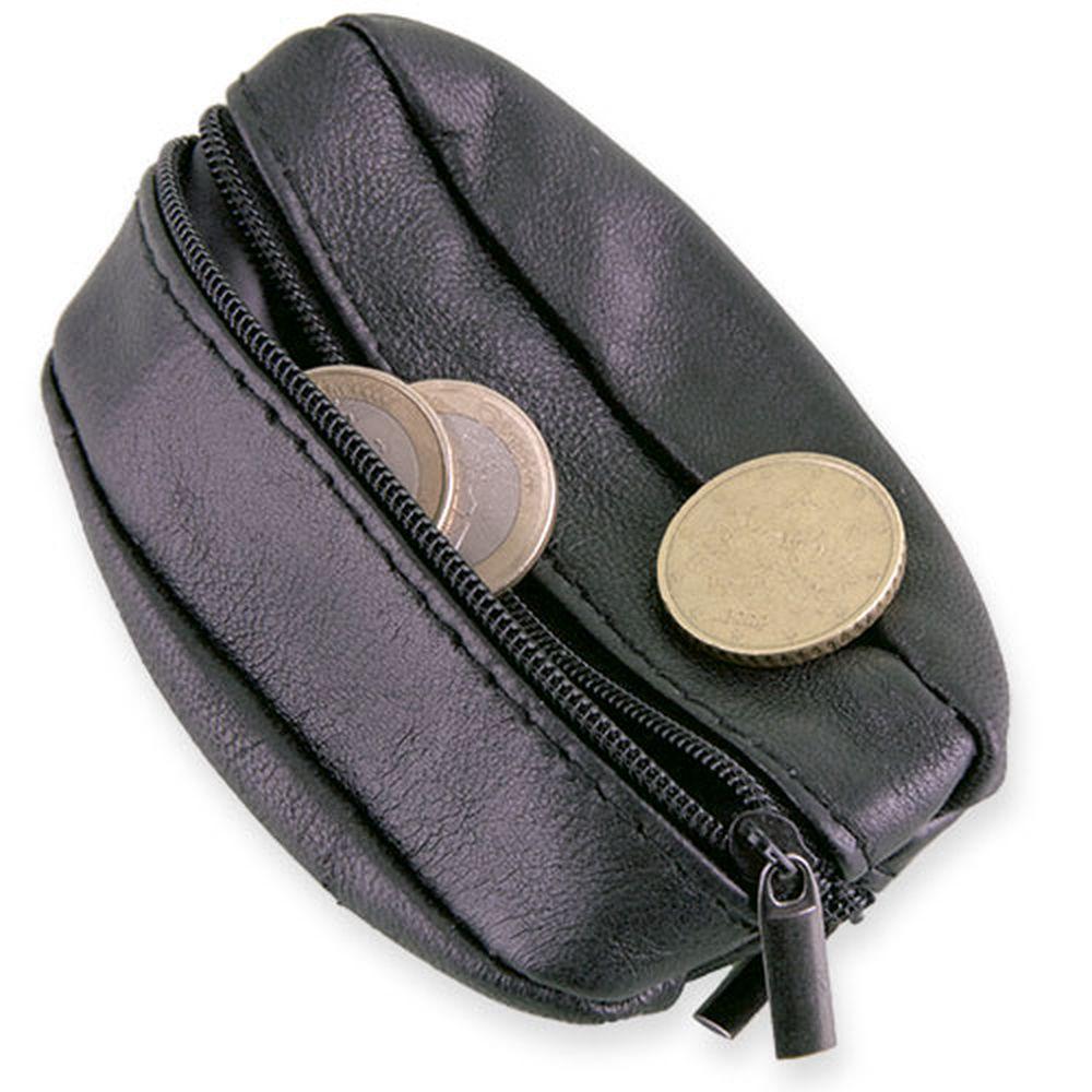 Oválná klíčenka s peněženkou z kůže černá