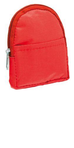 Červená peněženka ve tvaru batůžku