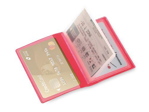 Obal na kreditní karty červený, 6 přihrádek