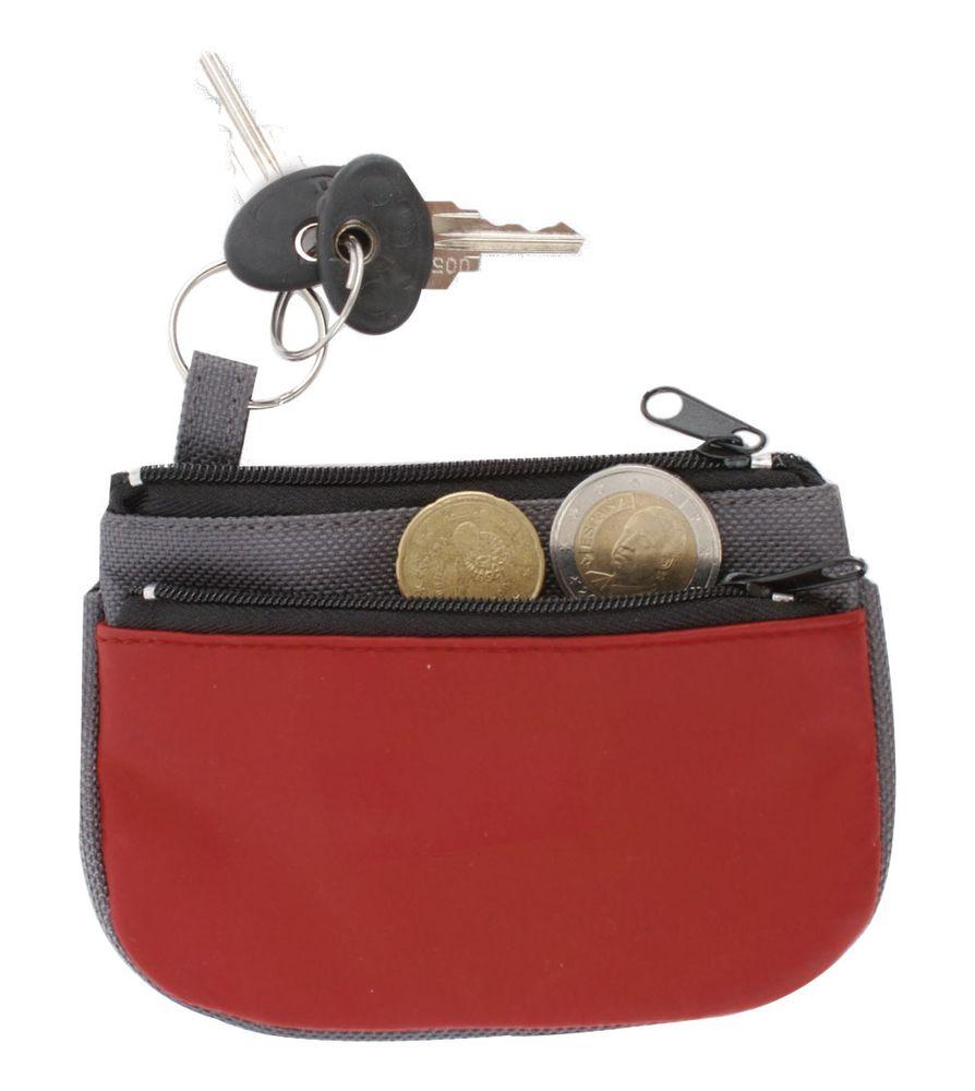 Peněženka s kroužkem na klíče šedo-červená