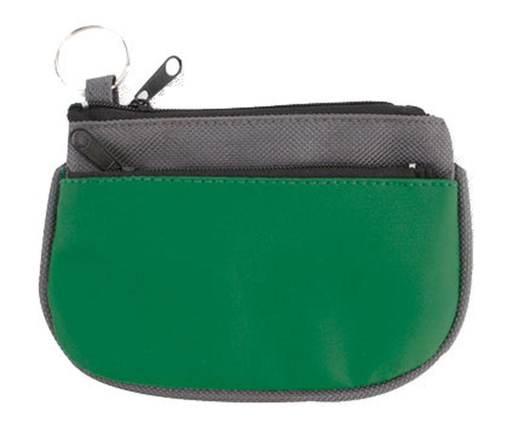 Peněženka s kroužkem na klíče šedo-zelená