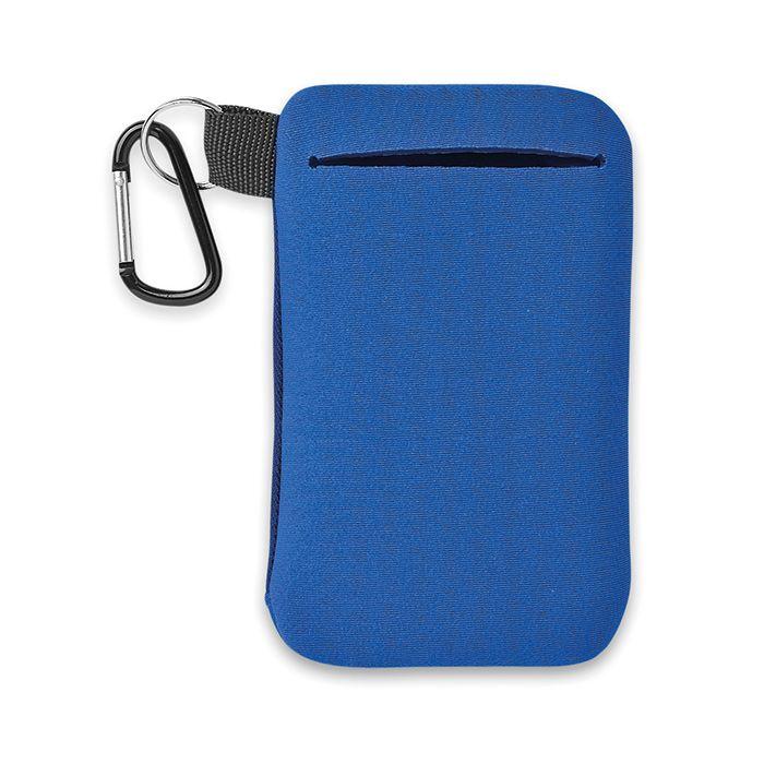 Modré pouzdro na mobil s karabinou