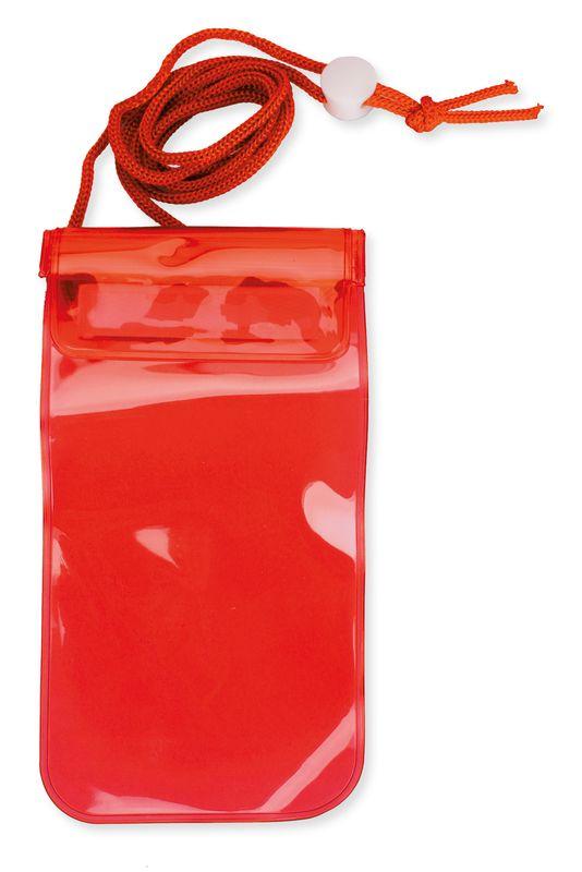 Voděodolný obal na mobil červený