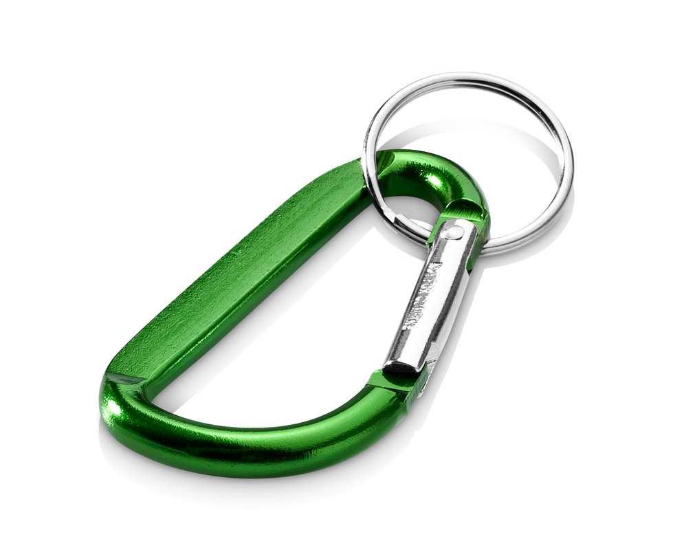 Zelená klíčenka karabina