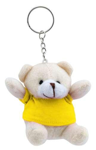 Teddy přívěsek na klíče se žlutým tričkem