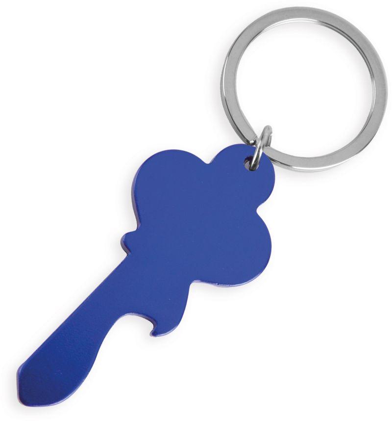 Klíčenka ve tvaru klíče modrá