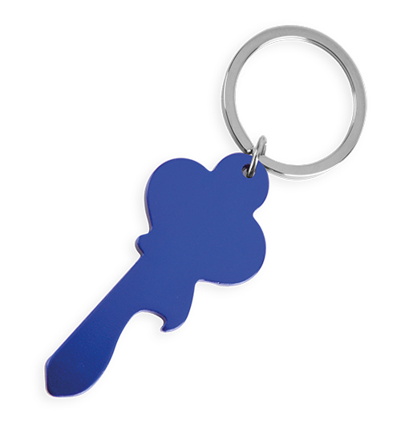 Klíčenka ve tvaru klíče modrá s potiskem