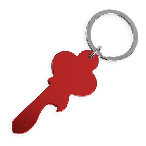 Klíčenka ve tvaru klíče červená s potiskem