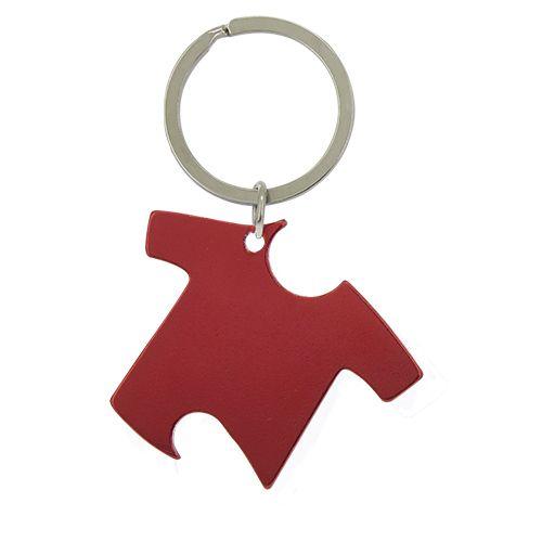 Kovová klíčenka s otvírákem červená