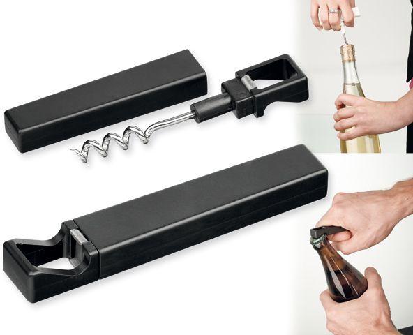 WINO kovový víceúčelový skládací otvírák na víno, černá