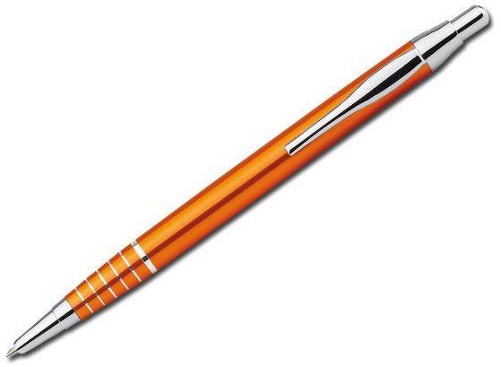 BELA kovové kuličkové pero, modrá náplň, oranžová