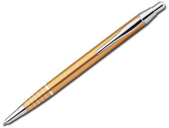BELA kovové kuličkové pero, modrá náplň, zlatá