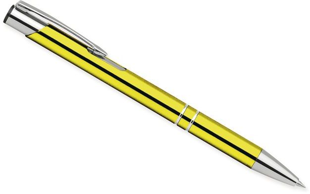 OLEG kovové kuličkové pero, modrá náplň, žlutá