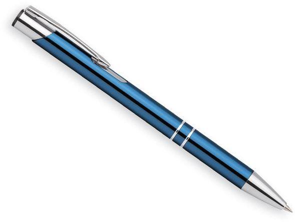 OLEG kovové kuličkové pero, modrá náplň, světle modrá