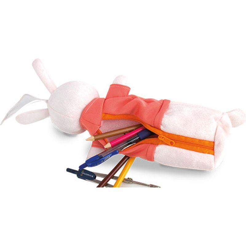 Pouzdro na tužky - králíček růžová s potiskem