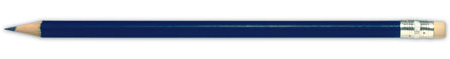 Modrá tužka s gumou na konci s potiskem