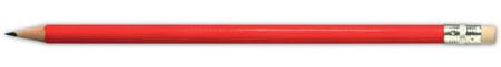 Červená tužka s gumou na konci