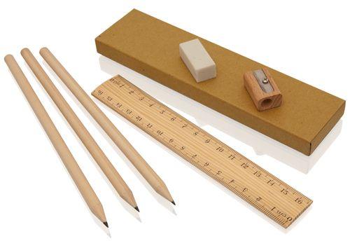 Set tužek pravítka, bumy a ořezávátka v krabičce