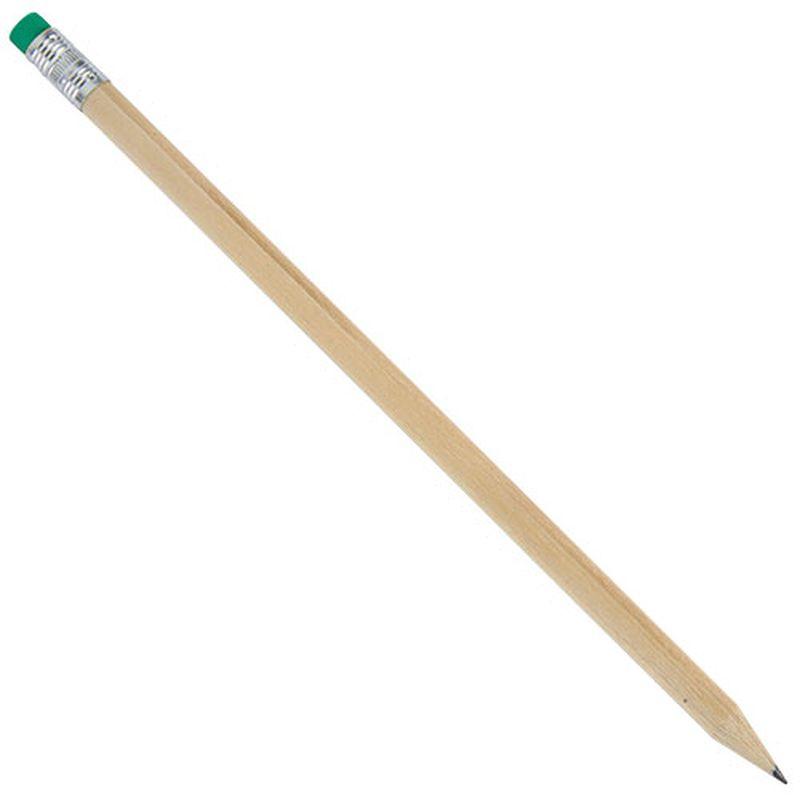 Dřevěná tužka s zelenou gumou s potiskem