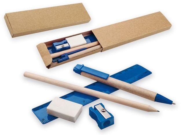 MILLET sada kuličkového pera , ořezané tužky, pravítka, ořezávátka a gumy, tmavě modrá