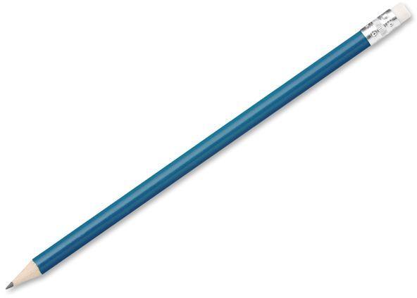 FREJA dřevěná grafitová HB tužka s gumou, modrá