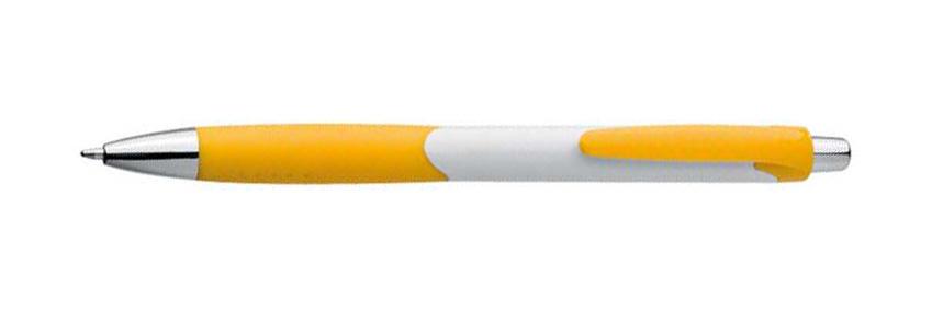Žluté plastové kuličkové pero s bílým držátkem a gumovým uchopením